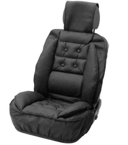 luxury leather look seat cushion with lower back support all for your car and truck delrue. Black Bedroom Furniture Sets. Home Design Ideas
