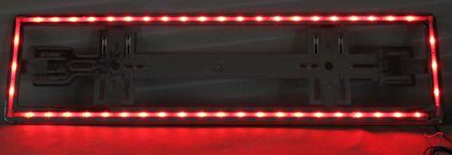 porte plaque d 39 immatriculation 48led rouge 12 24v chrom tout pour votre voiture et camion delrue. Black Bedroom Furniture Sets. Home Design Ideas