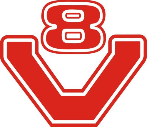 Autocollant V8 Logo 15 Cm Rouge Tout Pour Votre Voiture