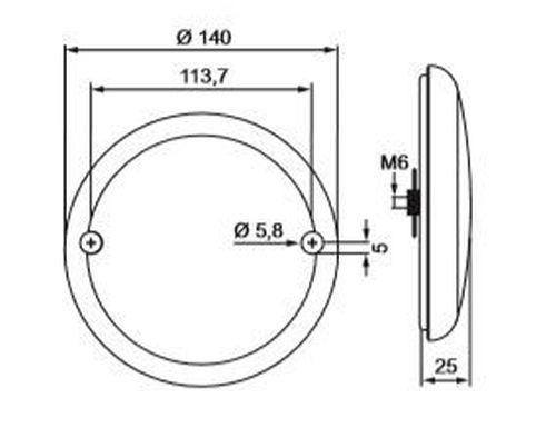 Mistlamp plat rood 20LED + ring chrome 14cm opbouw 12V/24V