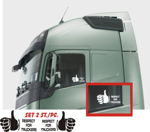 Kleverset Respect truckers duim zwart 20x32cm - 2st