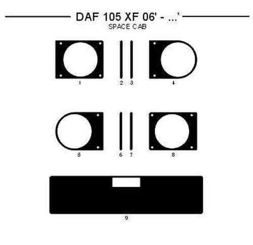 Dashboardset Daf XF105 SC hout aanv. POL 9-delig