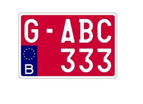 plaque d 39 immatriculation moto rouge texte blanc plexi. Black Bedroom Furniture Sets. Home Design Ideas