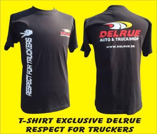 t shirt noir 39 respect for truckers 39 logo delrue xl tout pour votre voiture et camion delrue. Black Bedroom Furniture Sets. Home Design Ideas
