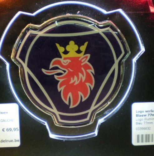 """Logo verlicht wit """"Scania griffioenLINKS"""" Blauw 77mm 3D"""