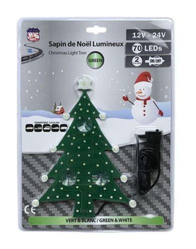 Kerstboom verlicht 70LED wit/groen12V+24V