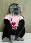 "Aap pluche Gibbon zwart ""I love you"" 32cm"