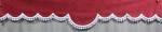 DL Cabinegordijn XL ELG rood met franjes + logo