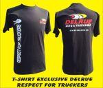 T-shirt zwart 'Respect for truckers' + DELRUE logo L