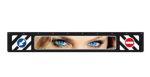 "Spatlap zwart ""Eyes"" (pijl/verbodsbord) 35cmx240cm"
