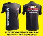 T-shirt zwart 'Respect for truckers' + DELRUE logo S